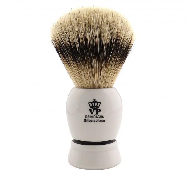 Rasierpinsel Royal VP Premium in feinster Qualität mit Silberspitz Dachszupf - Kunstharzgriff weiß