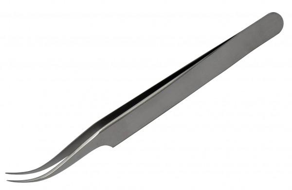 Chirurgische Qualitäts Micro-Juwelierpinzette gebogen und spitz 0,2 mm Spitzenbreite