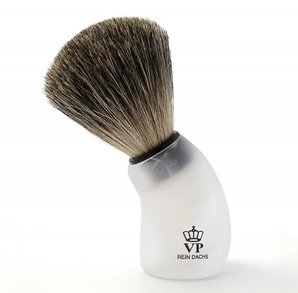 Rasierpinsel Royal VP - mit echtem, reinem Dachshaar - Griff weißmattiert und geschwungen