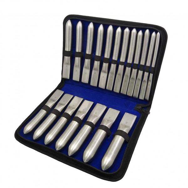 Dilatatoren Set HEGAR Stifte 19-teilig von 12 mm bis 30 mm in Etui
