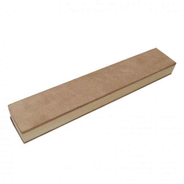 Stabiler Lederriemen Streichriemen Abziehleder auf Holzschleifklotz 30 x 5 cml