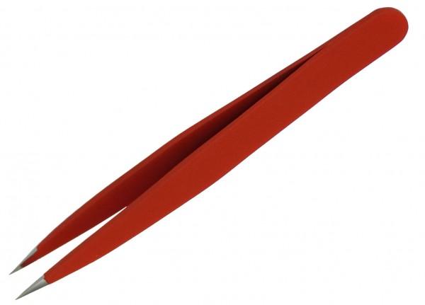 Qualitäts Pinzette Splitterpinzette 9,5 cm lang, rot