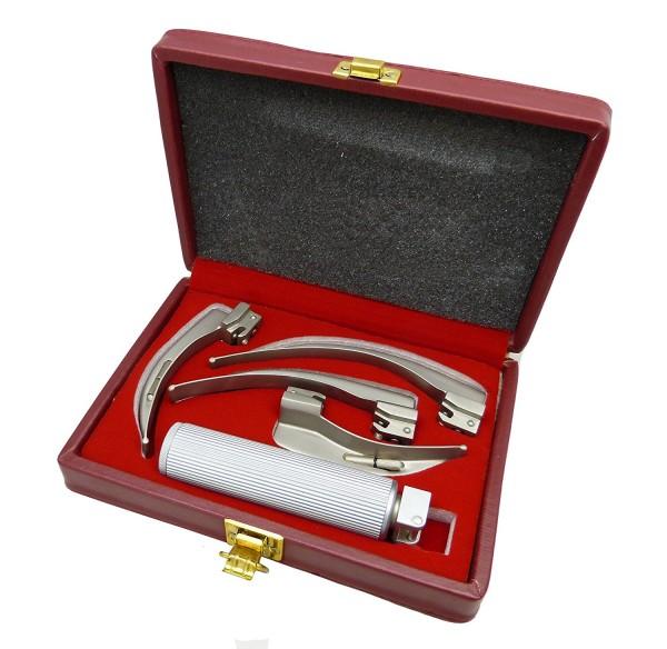 Laryngoskop-Set nach MILLER in Lederbox - rostfreier Edelstahl und sterilisierbar