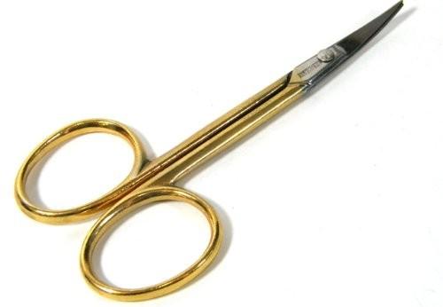 Vergoldete Nagelschere mit gebogener schmaler Spitze, BS Doppelkopf, 3,5 Zoll