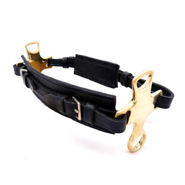Hackamore mit kurzem Hebel - Nasenriemen Reithalfter aus Leder mit Messingbeschlag - unisize