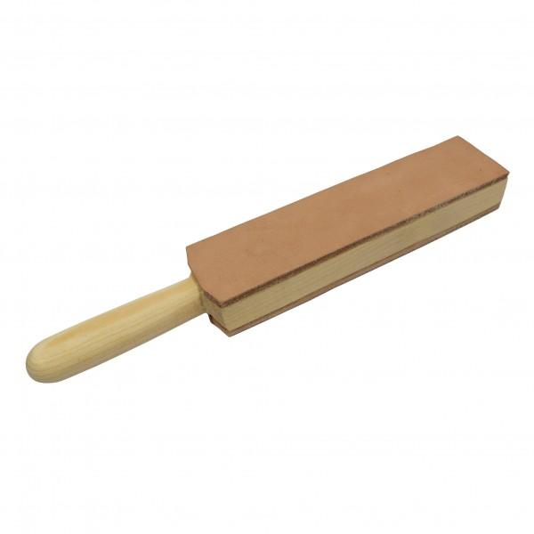 Stabiler Lederriemen Streichriemen Abziehleder mit Holzgriff 20 x 5 cm für die traditionelle Rasur