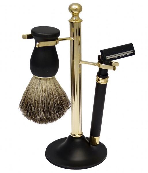 Rasierset 3-teilig: Dachshaar Rasierpinsel, Rasierer und repräsentativer Halterung aus Metall