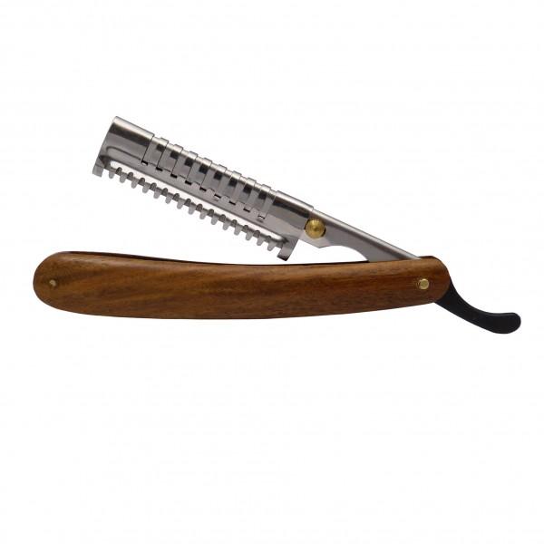 Hochwertiges Effiliermesser mit Holzgriff, 53 mm Nutzlänge - incl. 4 Aufsätze