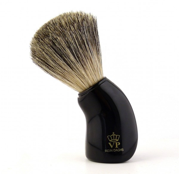 Rasierpinsel Royal VP - mit echtem, reinem Dachshaar - Griff schwarz und geschwungen