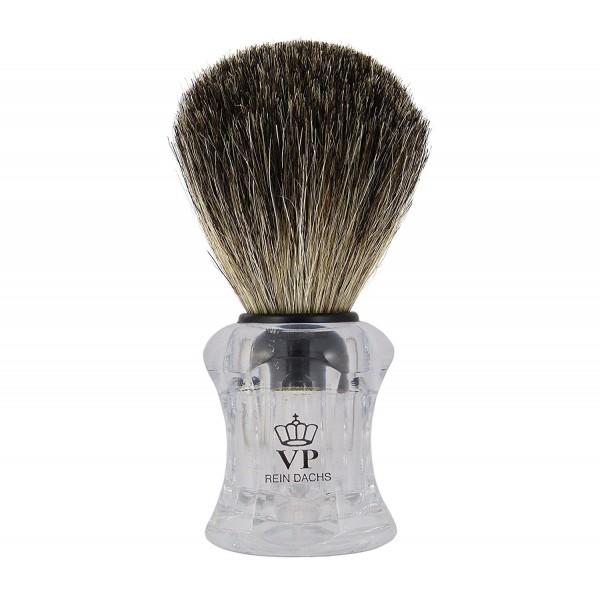 Rasierpinsel Royal VP - mit echtem, reinem Dachshaar - Griff transparent