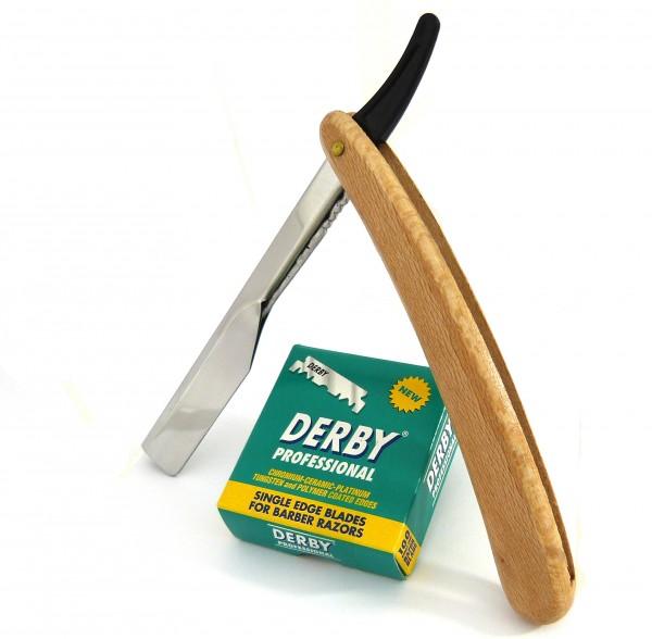 Öko Wechselklingenmesser Einsteck-Rasiermesser aus Holz mit 100 Rasierklingen