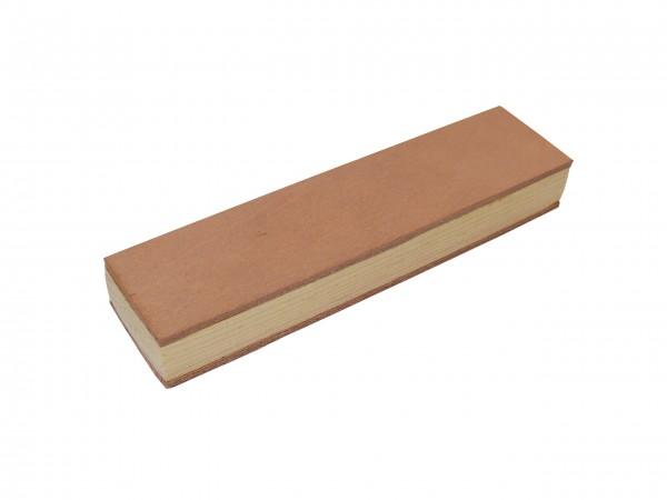 Stabiler Lederriemen Streichriemen Abziehleder auf Holzschleifklotz 20 x 5 cml