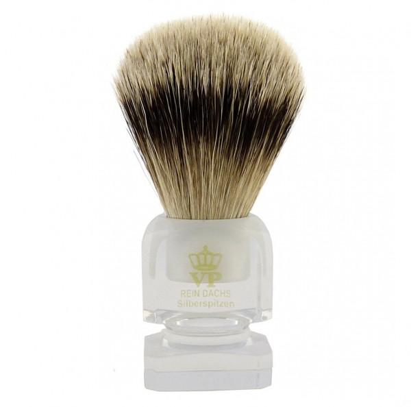 Rasierpinsel Royal VP Premium in feinster Qualität mit Silberspitz Dachszupf - Plexigriff transparen