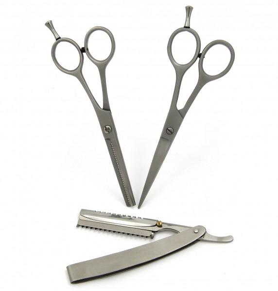 Home Haarscherenset - bestehend aus Haarschere, Modellierschere und Effiliermesser