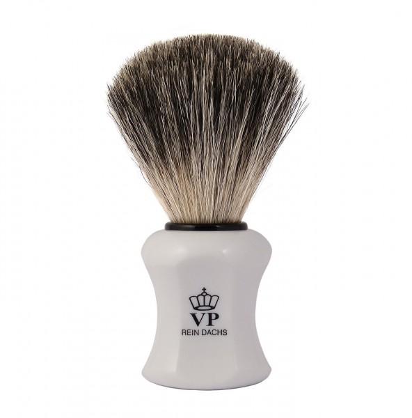 Rasierpinsel Royal VP - mit echtem, reinem Dachshaar - Griff weiß