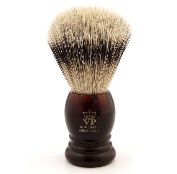 Rasierpinsel Royal VP Premium in feinster Qualität mit Silberspitz Dachszupf - Kunstharzgriff schild